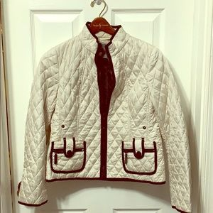 Ann Taylor Petite Quilted black and white coat